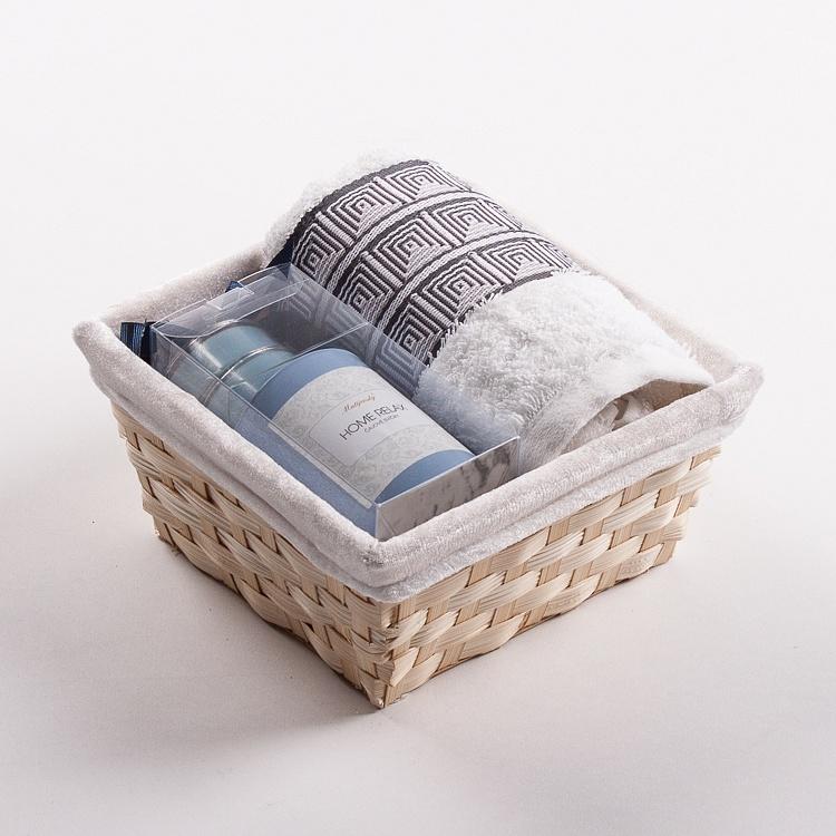 Towel Basket Aida white - light blue candle set