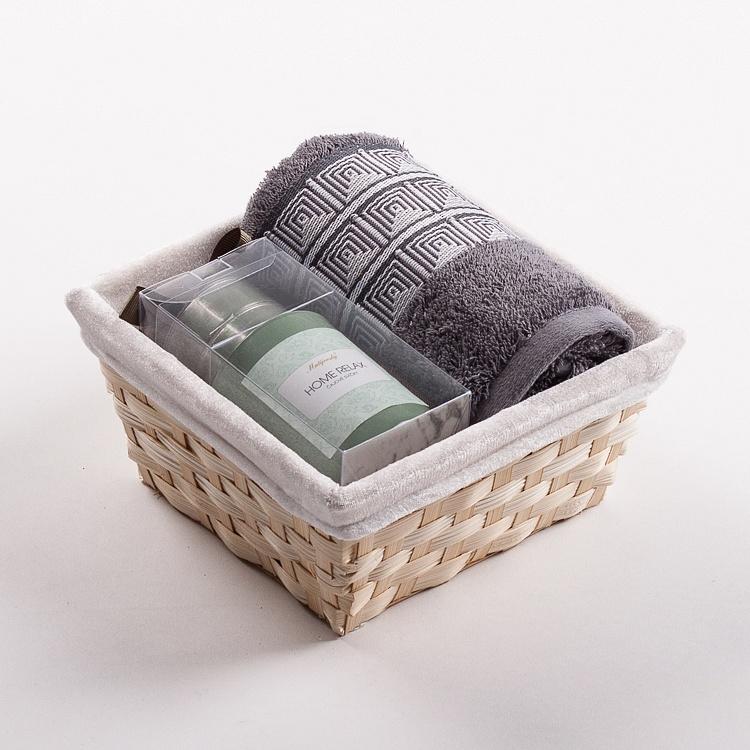 Towel Basket Aida grey - green candle set