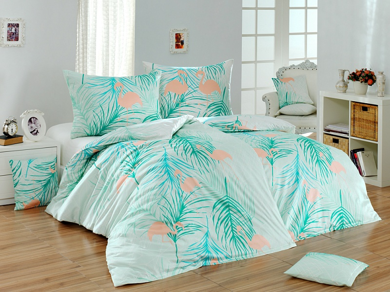 An Elegant Combination Geometric Motive With Flamingos And Tropical Leaves Each Side Of The Bedding Is Same Bottom A Pillowcase Has No