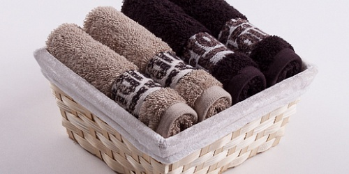 Towel Basket Luxor 4 pcs beige and dark brown