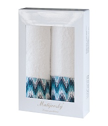 Towel Gift Box Magic 2 pcs white