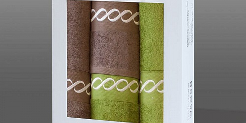 Towel Gift Box Royal 4 pcs mocca dark and olive