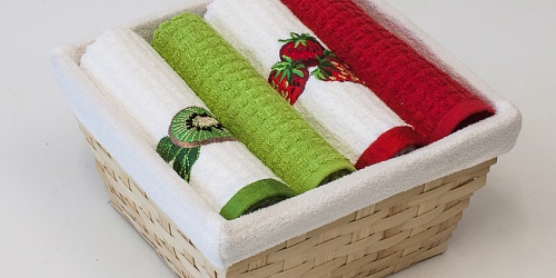 Basket with towels Kiwi - Strawberries