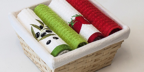 Basket with towels Olive - Tomato