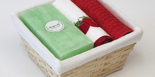 Basket with towels Tomato - aloe candle