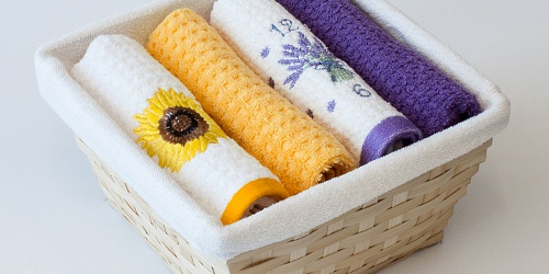 Basket with towels Sunflower - Lavender