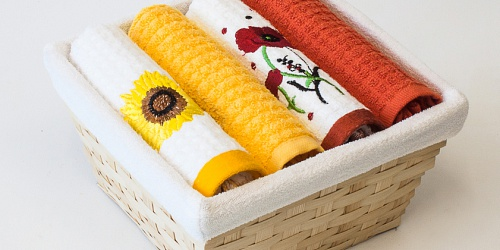 Basket with towels Sunflower - Poppy