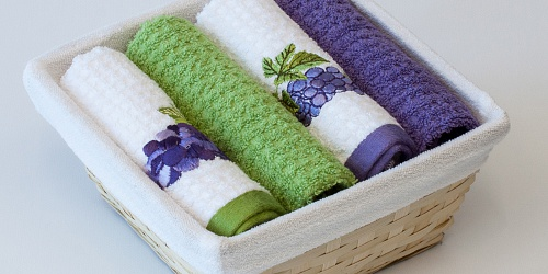 Basket with towels Grapes Blue - Grapevine