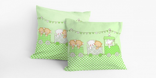 Pillowcase Fairytale Train Green
