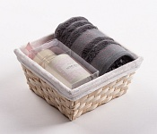 Towel Basket Camelia grey - cream candle set