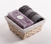 Towel Basket Camelia grey - violet candle