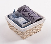 Towel Basket Denton grey - dark blue candle set