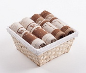 Towel Basket Dove 4pcs cream and brown