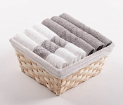 Towel Basket Elegant 6pcs white and tabacco