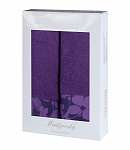 Towel Gift Box Flora 2pcs dark violet