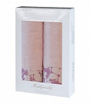 Towel Gift Box Flora 2 pcs light pink