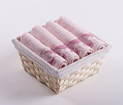 Towel Basket Flora 4pcs pink