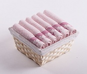 Towel Basket Flora 6pcs pink