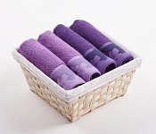 Towel Basket Flora 4pcs dark and light violet