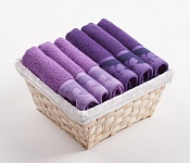 Towel Basket Flora 6 pcs light and dark violet