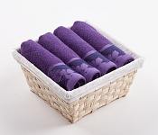 Towel Basket Flora 4 pcs dark violet