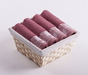 Towel Basket Flora 4pcs dark pink