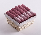 Towel Basket Flora 6pcs dark pink