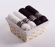 Towel Basket Luxor 4 pcs cream and dark brown