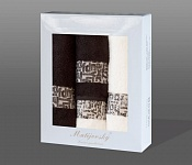 Towel Gift Box Luxor 4 pcs dark brown and cream