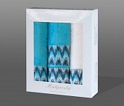 Towel Gift Box Magic 4 pcs white and light turquise