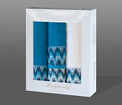 Towel Gift Box Magic 4 pcs white and dark turquise