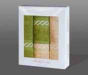 Towel Gift Box Royal 4 pcs olive and apricot