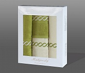 Gift wrapping towels Royal 4 pcs olive and white
