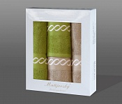 Towel Gift Box Royal 4 pcs olive and mocca light
