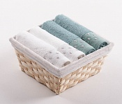 Towel Basket Sandra 4 pcs white and light menthol