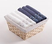 Towel Basket Sandra 6 pcs white and blue