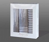 Towel Gift Box Silver-Stripe 4 pcs