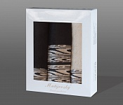 Towel Gift Box Solare 4 pcs beige and black