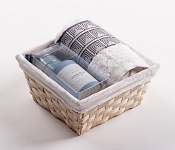 Towel Basket Aida white - light blue candle set