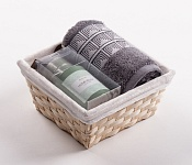 Towel Basket Aida grey - green candle set