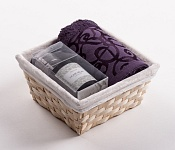 Towel Basket Denton lila - black candle set