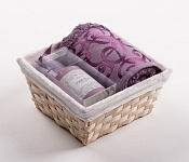 Towel Basket Denton violet - violet candle set