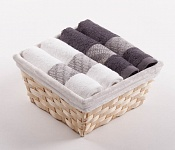 Towel Basket Elegant 4pcs white and anthracite