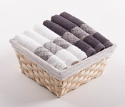 Towel Basket Elegant 6pcs white and anthracite