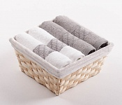 Towel Basket Elegant 4pcs white and tabacco