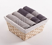 Towel Basket Elegant 4pcs tabacco and anthracite