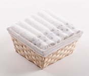 Towel Basket Sandra 6 pcs white