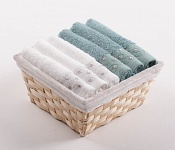 Towel Basket Sandra 6 pcs white and light menthol