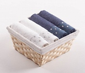 Towel Basket Sandra 4 pcs white and blue