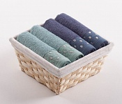 Towel Basket Sandra 4 pcs light menthol and blue